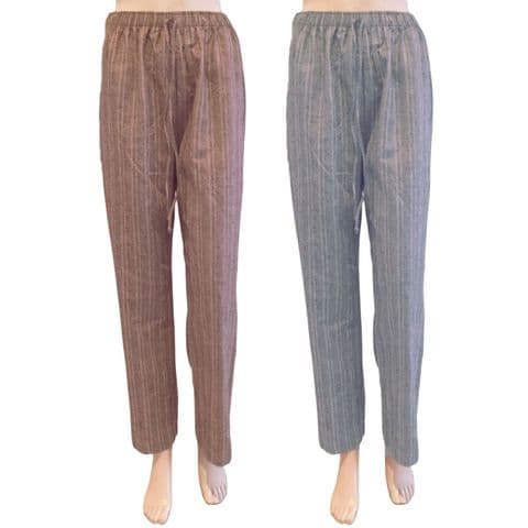 PINSTRIPE CASUAL TROUSERS ELASTIC WAIST PULL UP RELAXED WIDE FIT & 2 COLOURS
